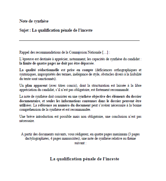 Note de synthèse CRFPA : la qualification pénale de l'inceste